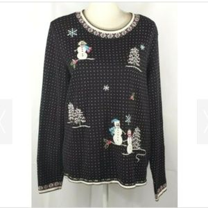 Alfred Dunner Snowman Holiday Sweater XL